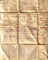 1843 Regret Letter from John Salley on St John Address at Lodge