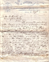 1870 Masonic College for Females Letter