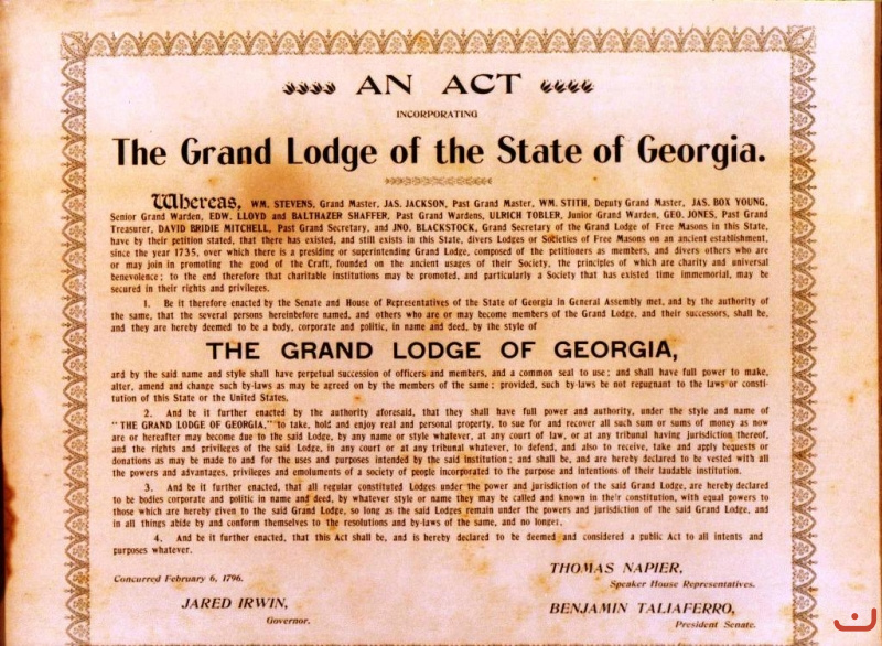 1796 Incorporation of Grand Lodge of Georgia